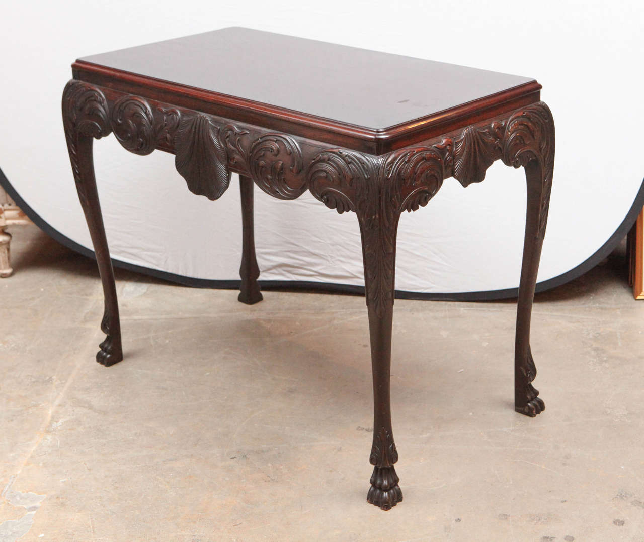 Late19th c. English Mahogany Console Table with Single Drawer and Shell Motif.  Can be used as Console, Center or Writing Table.