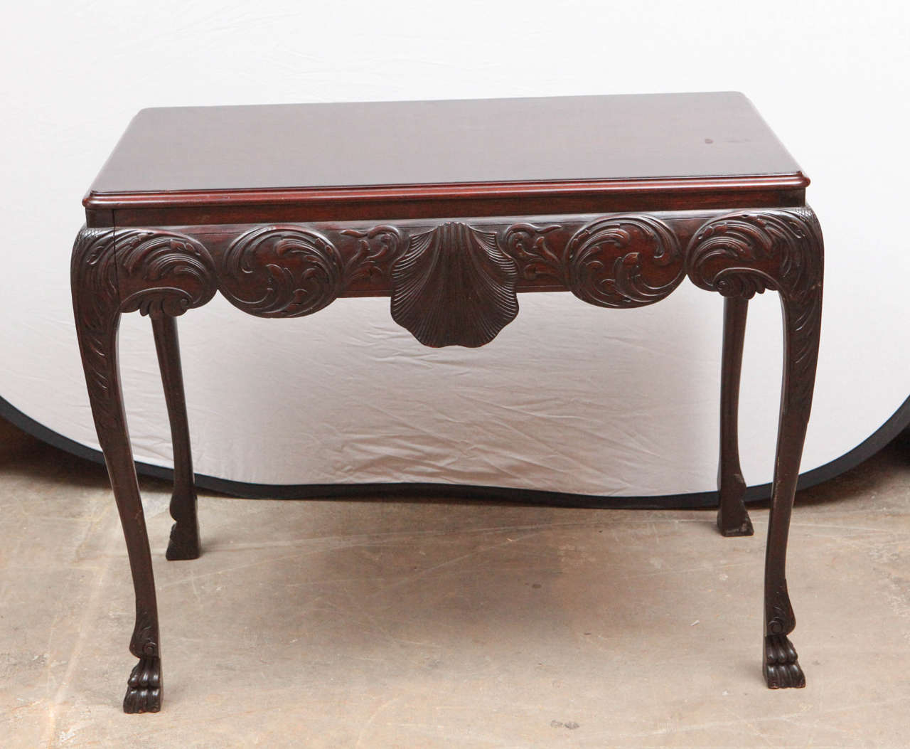 Carved 19th Century English Mahogany Console Table with Single Drawer For Sale
