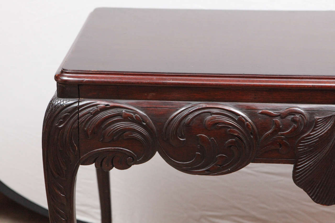 19th Century English Mahogany Console Table with Single Drawer For Sale 1
