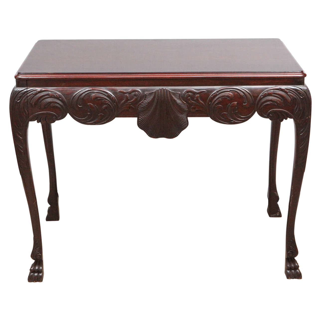 19th Century English Mahogany Console Table with Single Drawer For Sale