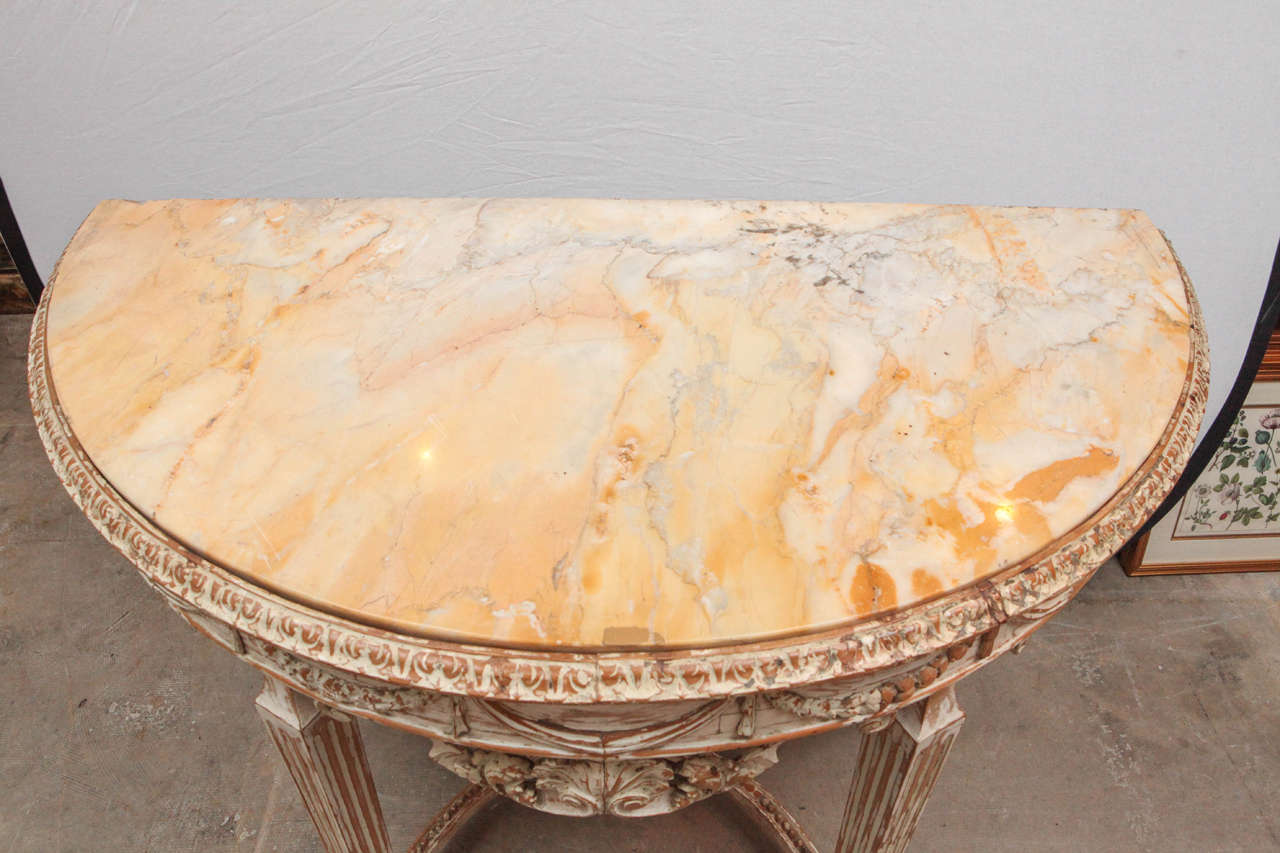 19th Century Italian Carved Demilune Console Table with Stretcher For Sale 1