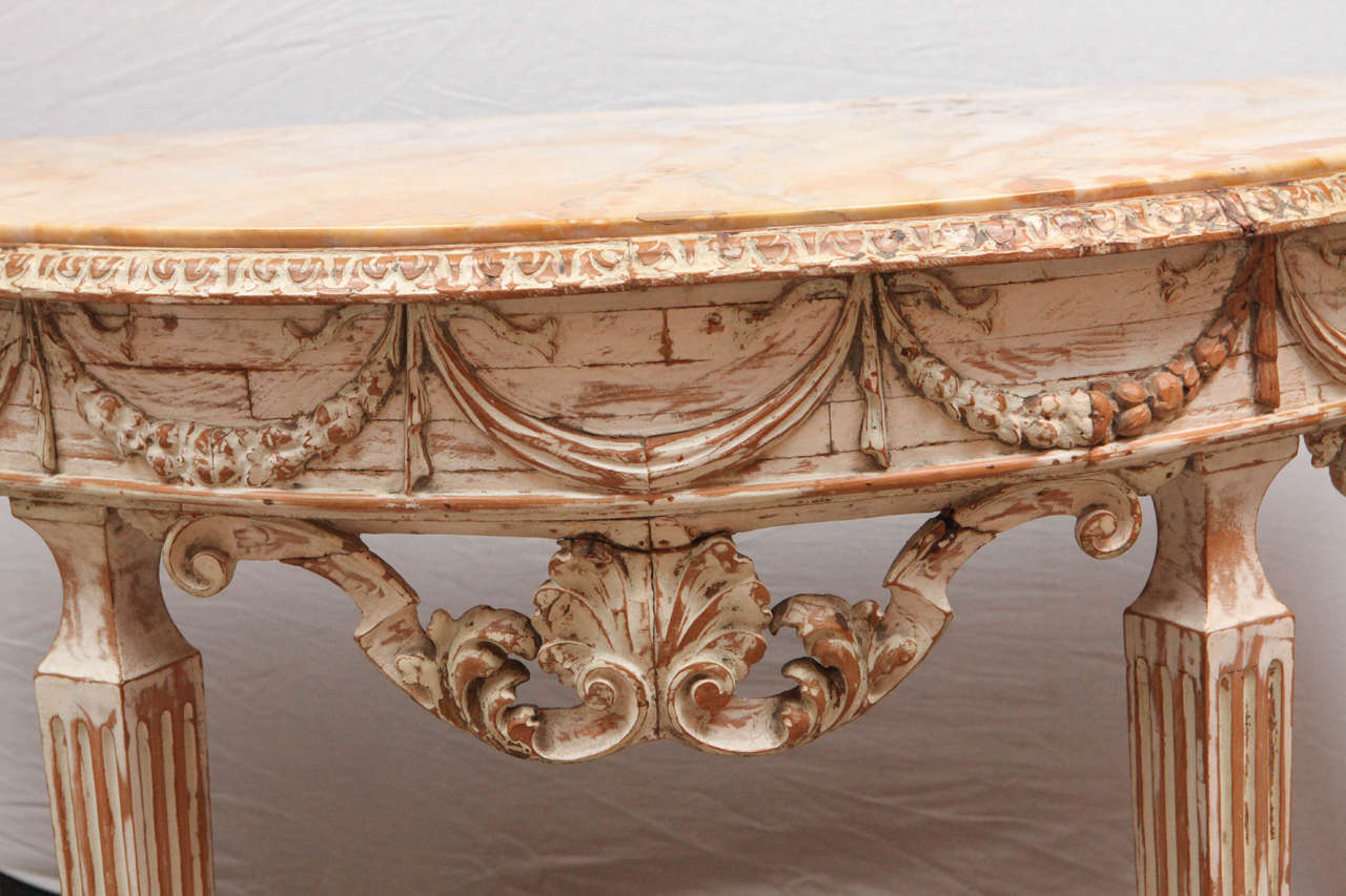 19th Century Italian Carved Demilune Console Table with Stretcher For Sale 2