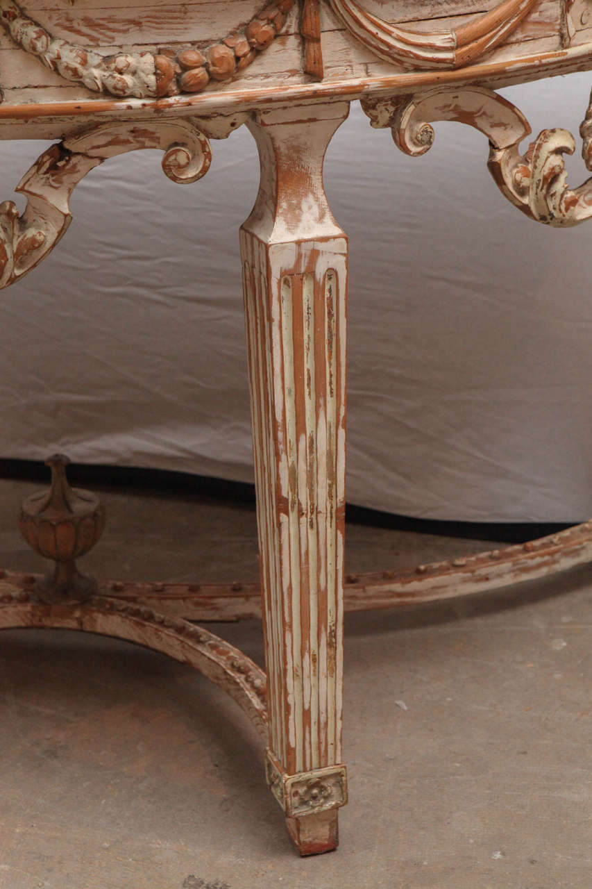 19th Century Italian Carved Demilune Console Table with Stretcher For Sale 3