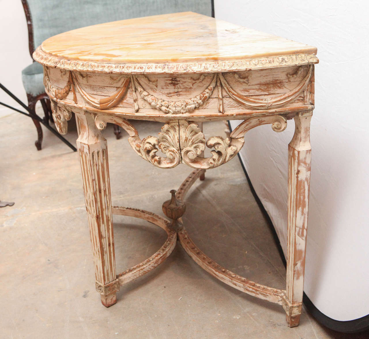 19th Century Italian Carved Demilune Console Table with Stretcher For Sale 5
