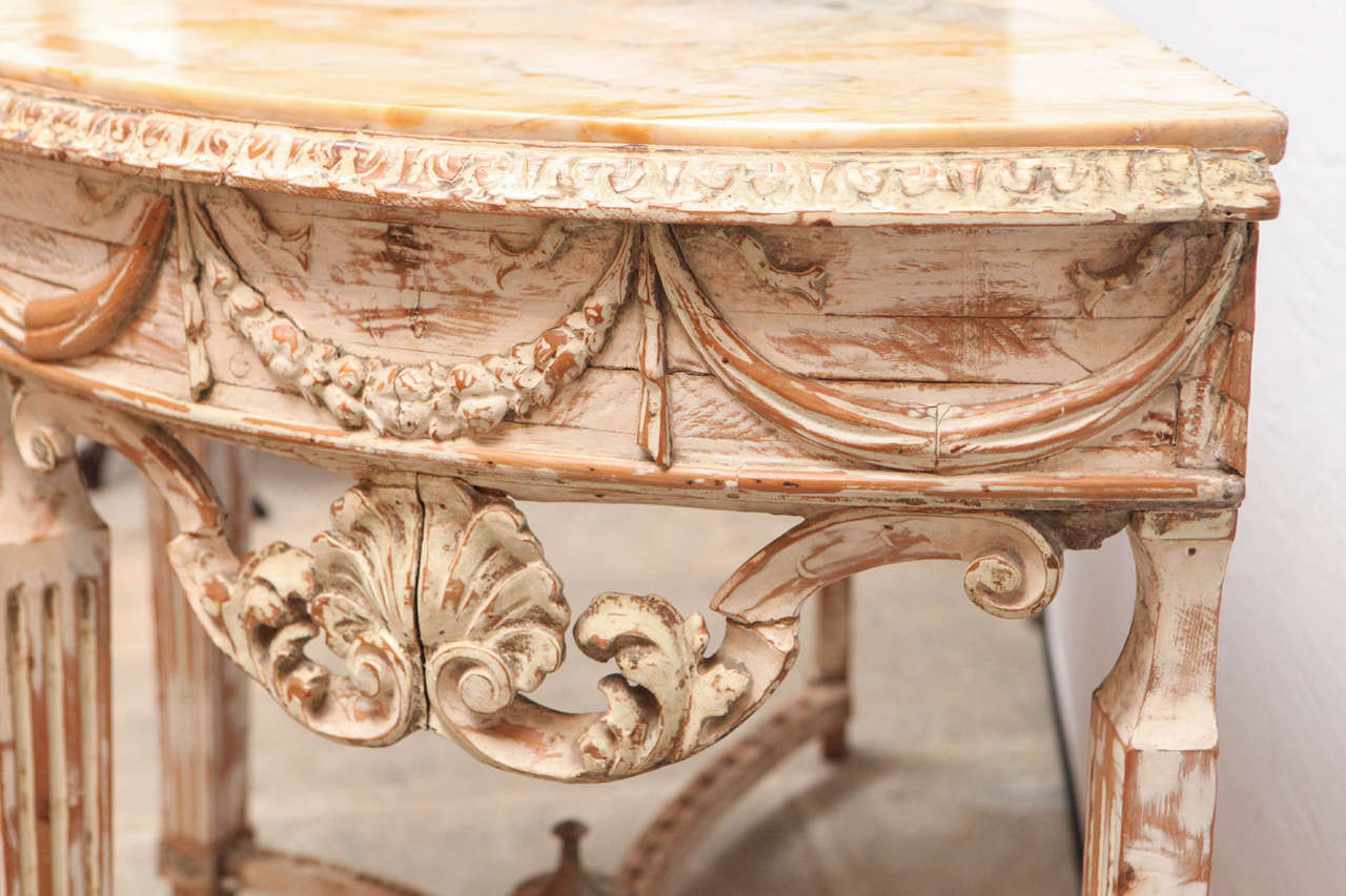 19th Century Italian Carved Demilune Console Table with Stretcher For Sale 6