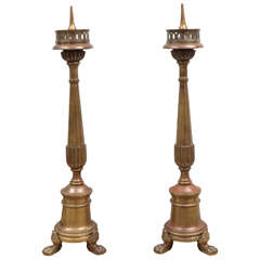 Pair of 19th Century Italian Solid Bronze Pricket Sticks
