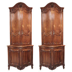 Pair of 19th Century French Walnut Carved Corner Cabinets