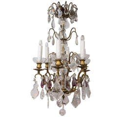 19th Century French Louis XV Style Dore Bronze Crystal Chandelier