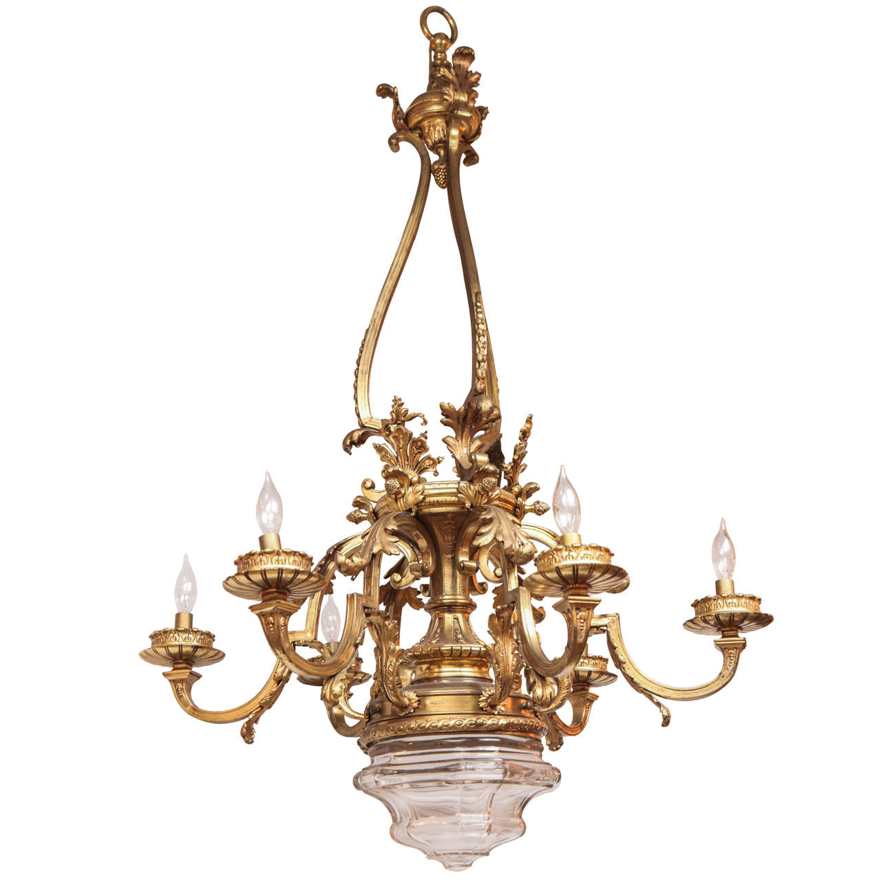 1900s French Doré Bronze Chandelier with Crystal Bowl