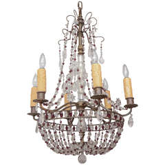 1900s French Bronze Beaded Chandelier with Amethyst and Rock Crystal