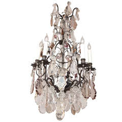 19th Century French Louis XV Style Multi Colored Crystal Chandelier
