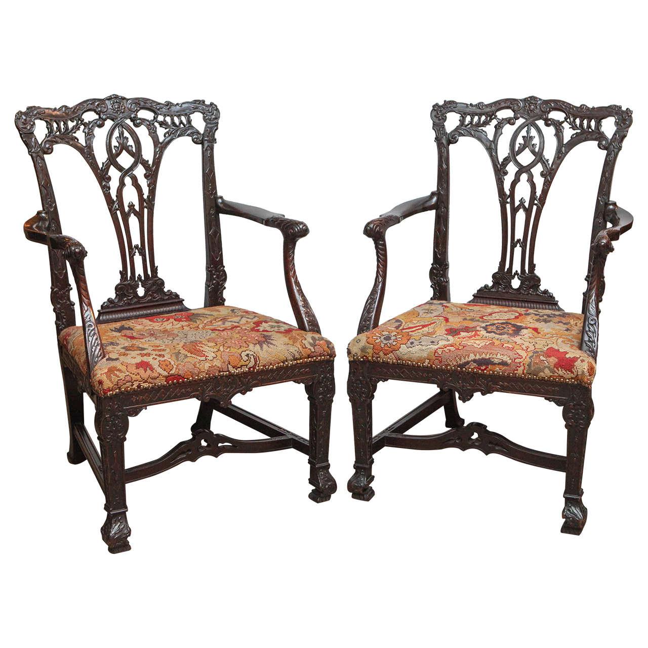 Pair of 19th Century English Mahogany Oversized Armchairs