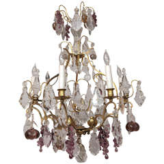 19th Century French Dore Bronze Crystal Chandelier with Fruit Detail