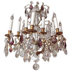19th Century French Dore Bronze Two-Tiered Crystal Chandelier