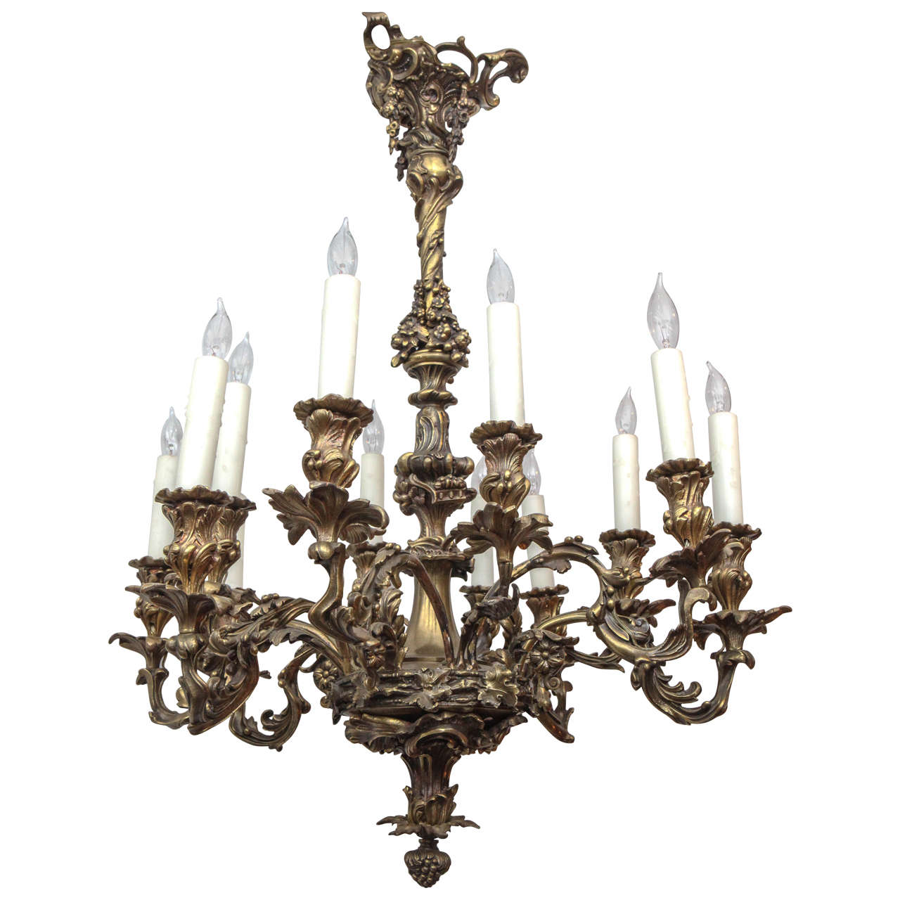 French Bronze Chandelier with Oak Leaf Motif For Sale  sc 1 st  1stDibs & 19th c. French Bronze Chandelier with Oak Leaf Motif For Sale at 1stdibs