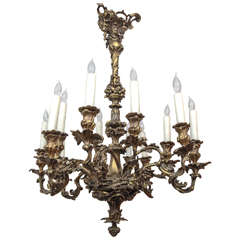 19th Century French Bronze Chandelier with Oak Leaf Motif