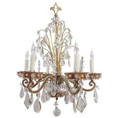 1920s French Bagues Style Polished Brass Crystal Chandelier