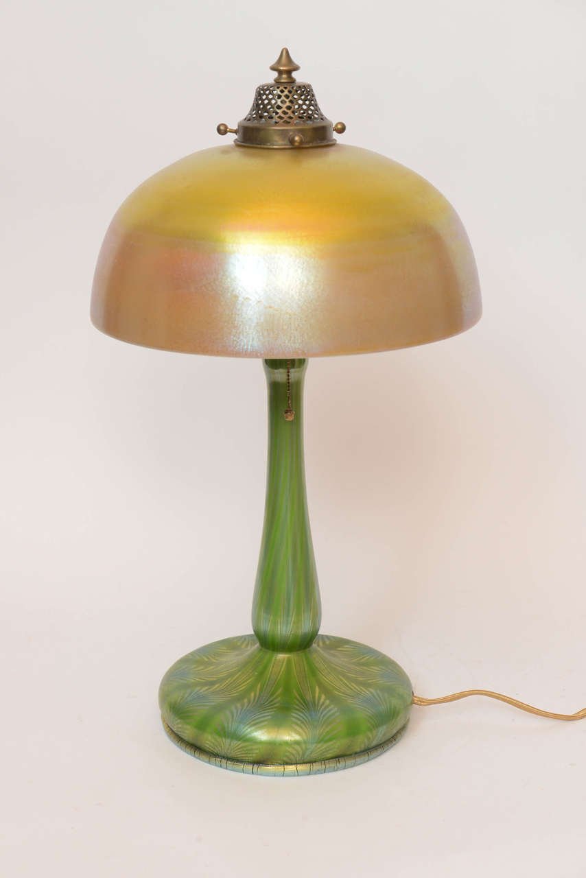 Louis Comfort Tiffany Favrile Glass Table Lamp For Sale At