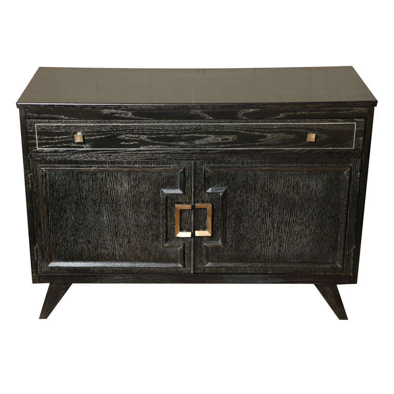 Cerused French Oak Kitchens And Cabinets: Small Black Cerused Oak Cabinet At 1stdibs