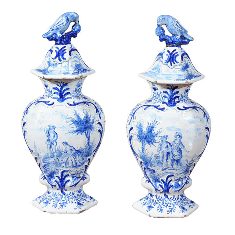 Pair blue and white Delft vases with matching lids