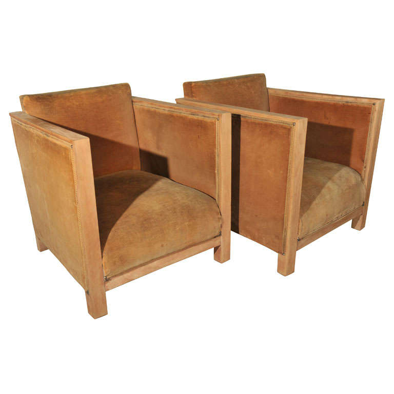 Pair art deco chairs jean michel frank style at 1stdibs for Art deco furniture chicago