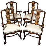 Set of Four Painted and Parcel Gilt Portuguese Armchairs
