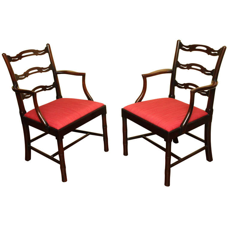 Pair of chinese chippendale period ladderback armchairs english