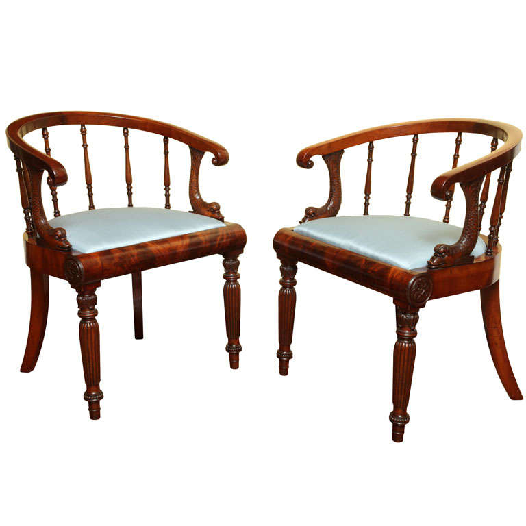Pair of Regency Mahogany Open Armchairs, English, circa 1810