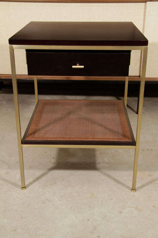 Pair of reGeneration Custom Ebony and Caned Bedside Tables For Sale 3