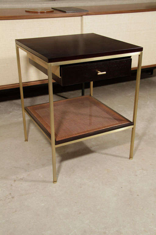 Pair of reGeneration Custom Ebony and Caned Bedside Tables For Sale 2
