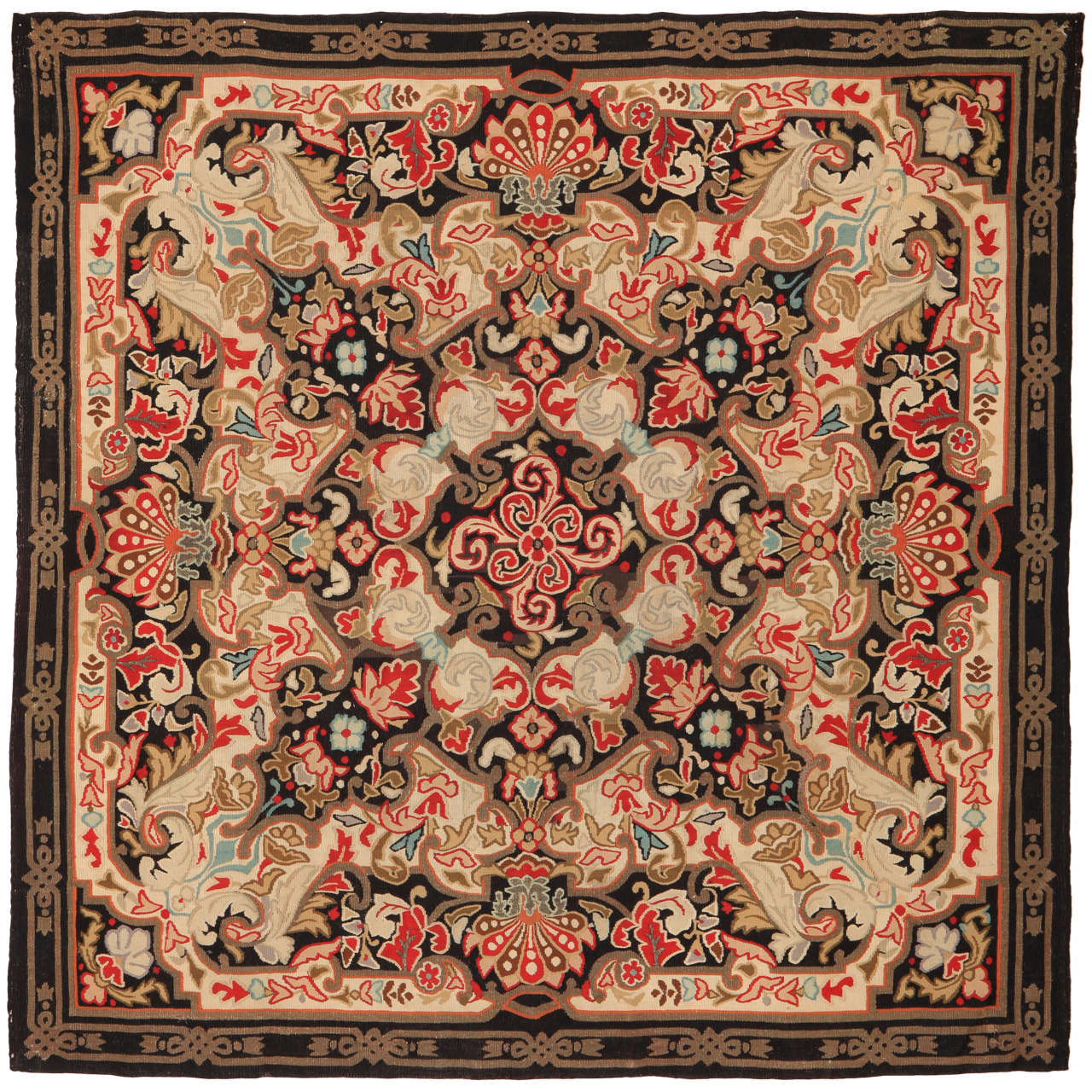Louis Philippe Antique Aubusson Sqauare Rug in Wool and Metal Thread