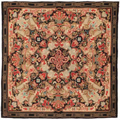 Louis Philippe Antique Aubusson Square Rug in Wool and Metal Thread
