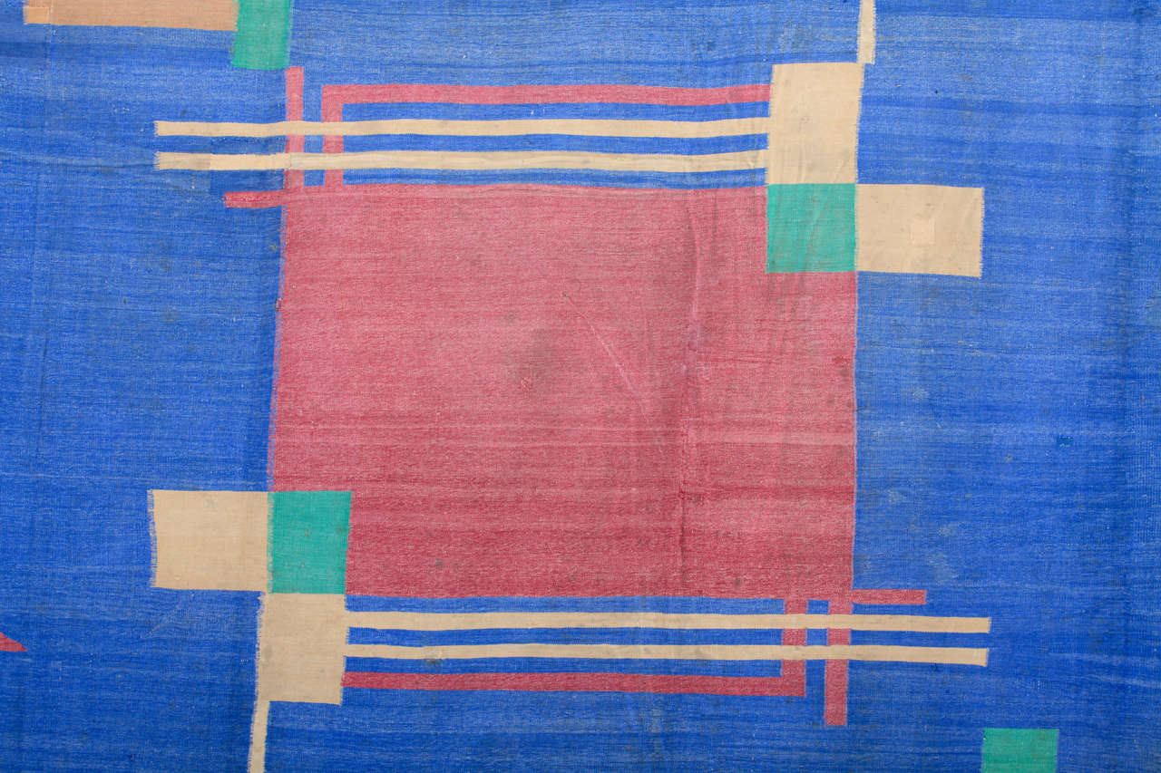 Antique Art Deco Oversize Indian Cotton Dhurrie In Good Condition For Sale In Milan, IT