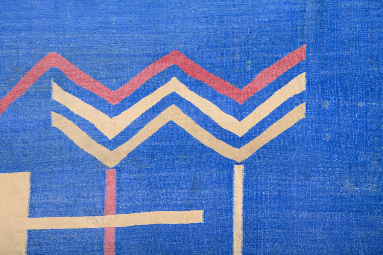 Mid-20th Century Antique Art Deco Oversize Indian Cotton Dhurrie For Sale
