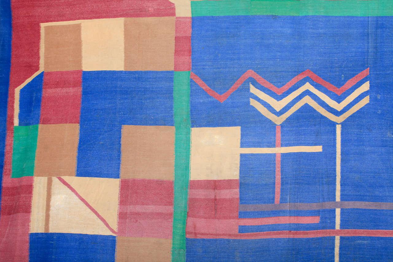 Antique Art Deco Oversize Indian Cotton Dhurrie For Sale 1
