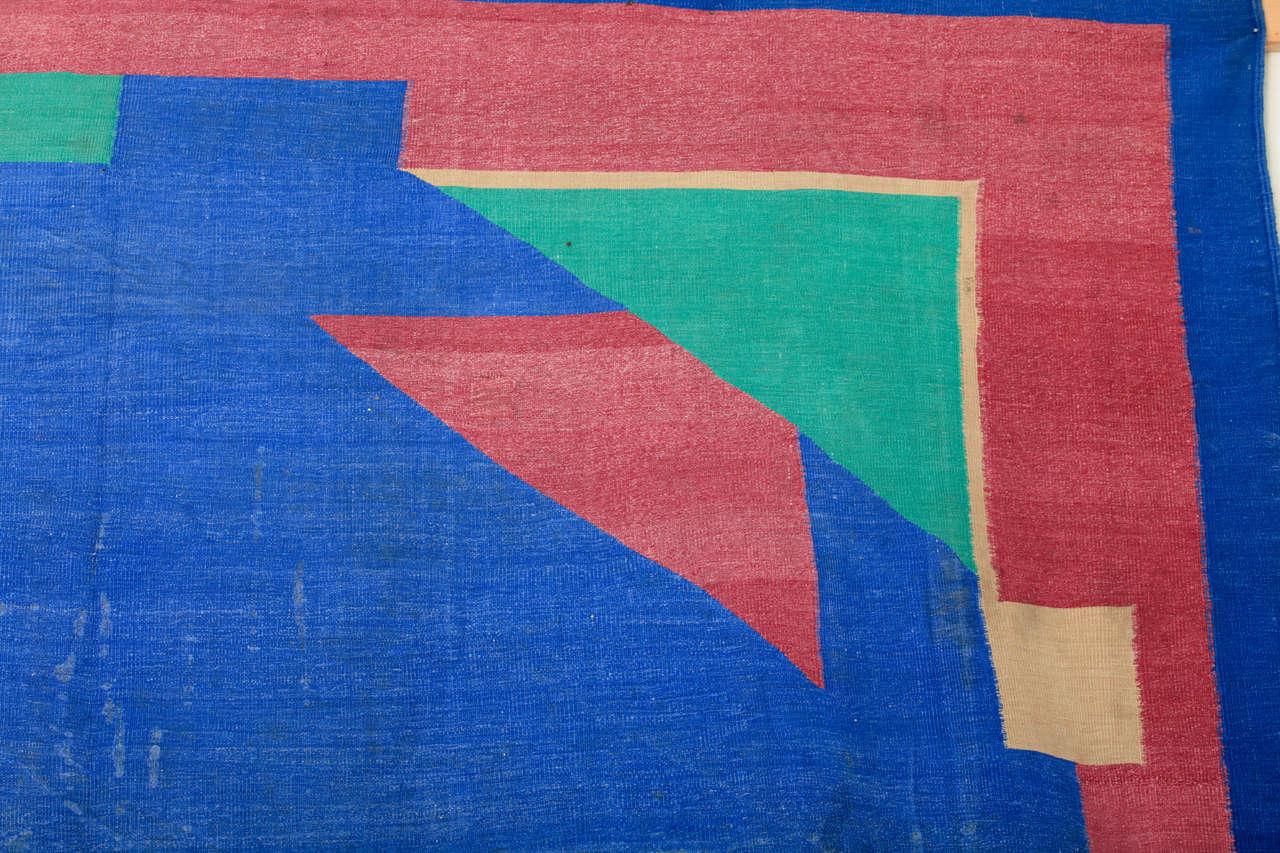 Antique Art Deco Oversize Indian Cotton Dhurrie For Sale 2
