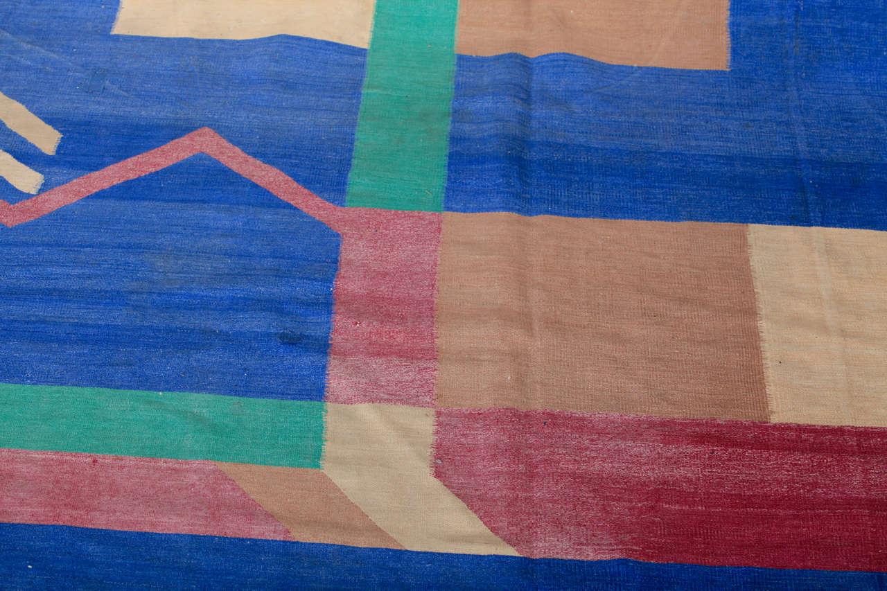 Antique Art Deco Oversize Indian Cotton Dhurrie For Sale 3