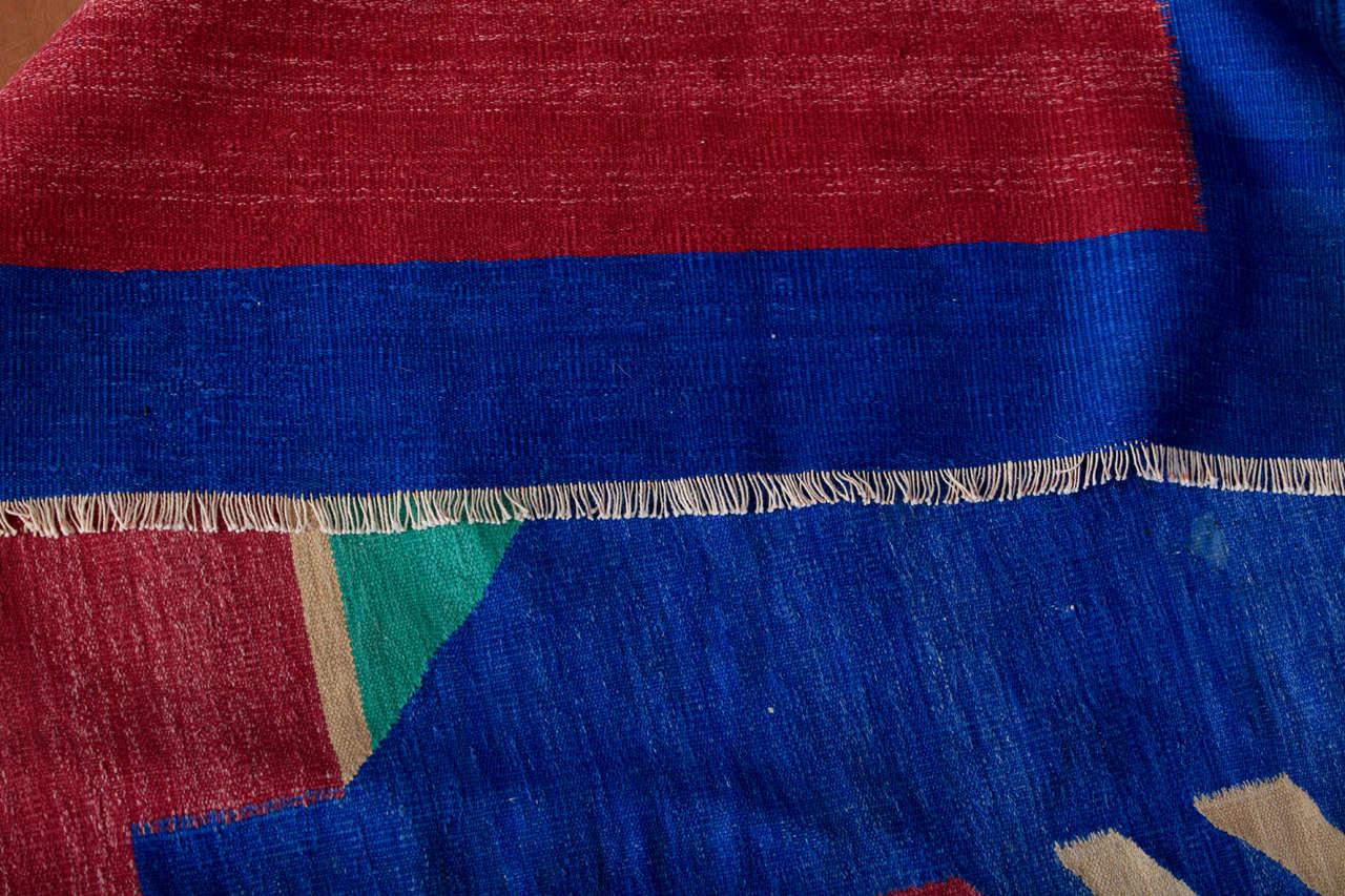 Antique Art Deco Oversize Indian Cotton Dhurrie For Sale 4