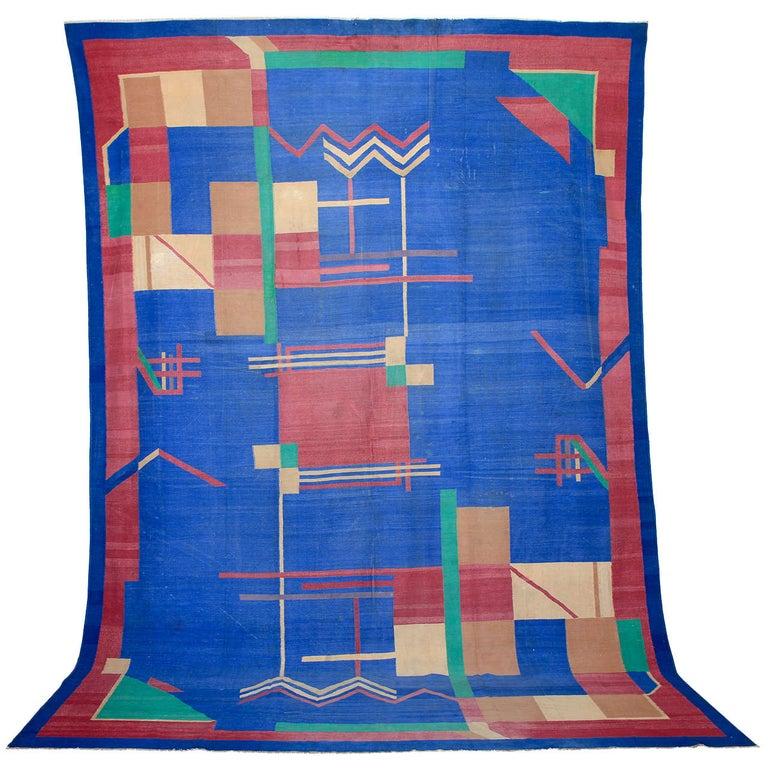 Antique Art Deco Oversize Indian Cotton Dhurrie For Sale