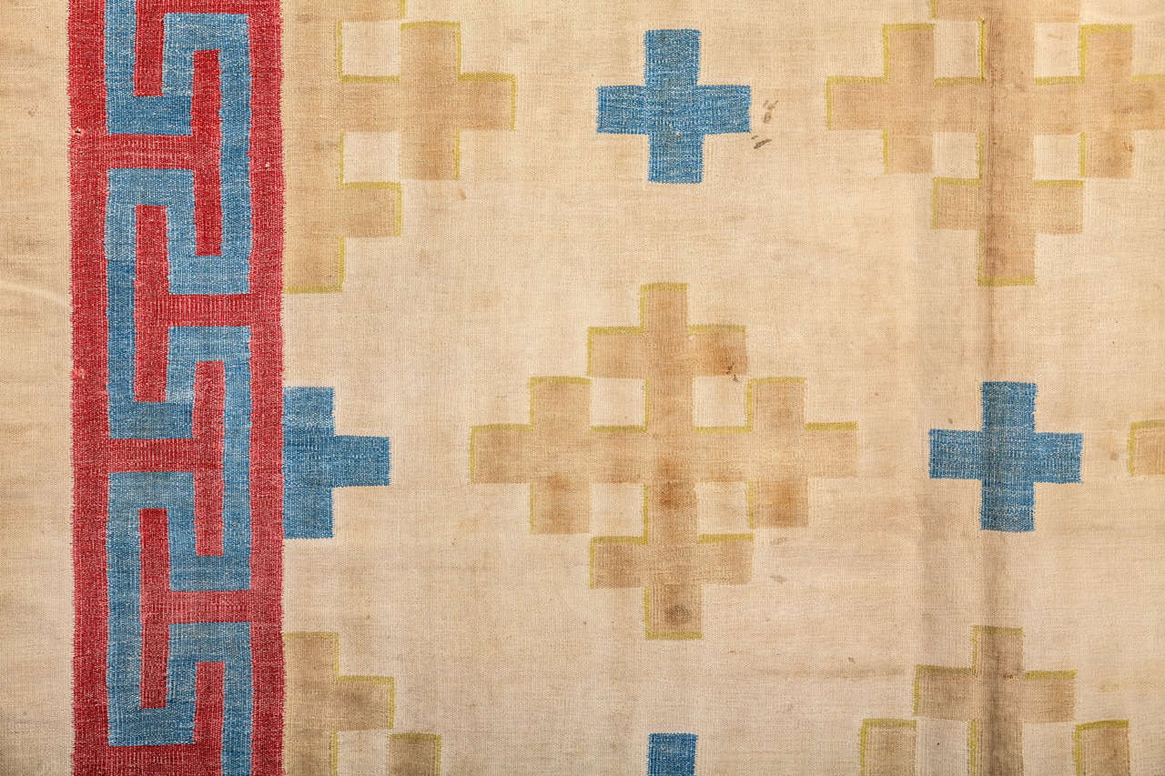 Indian Antique Cotton Dhurrie Rug For Sale