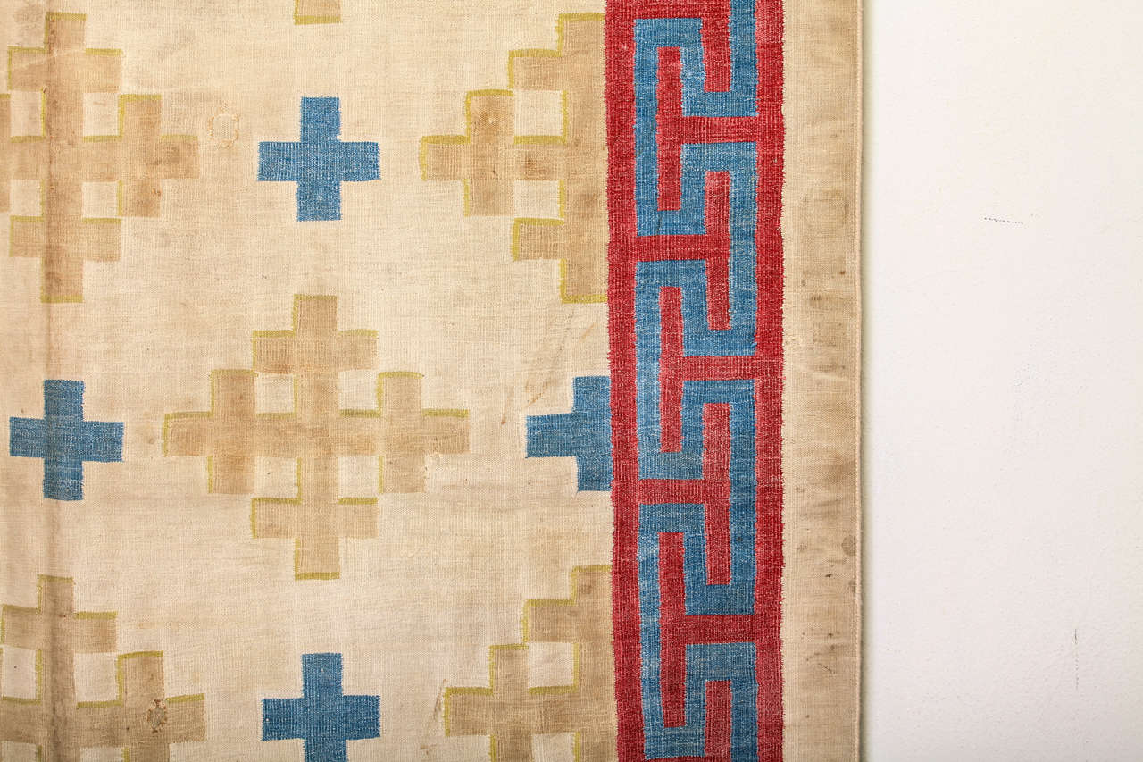 Antique Cotton Dhurrie Rug In Fair Condition For Sale In Milan, IT