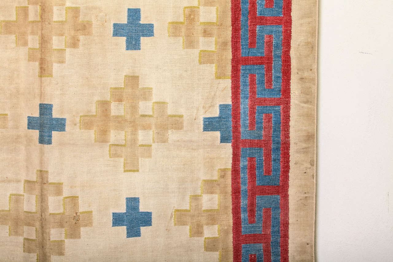 20th Century Antique Cotton Dhurrie Rug For Sale