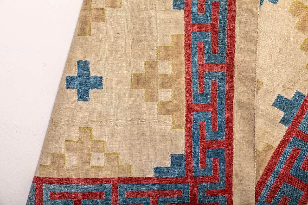 Antique Cotton Dhurrie Rug For Sale 1