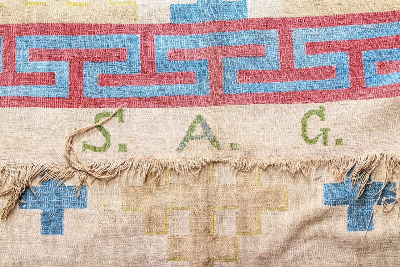 Antique Cotton Dhurrie Rug For Sale 2