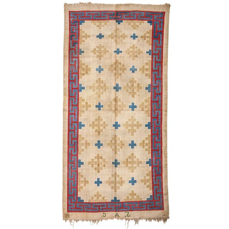 Antique Cotton Dhurrie Rug For Sale