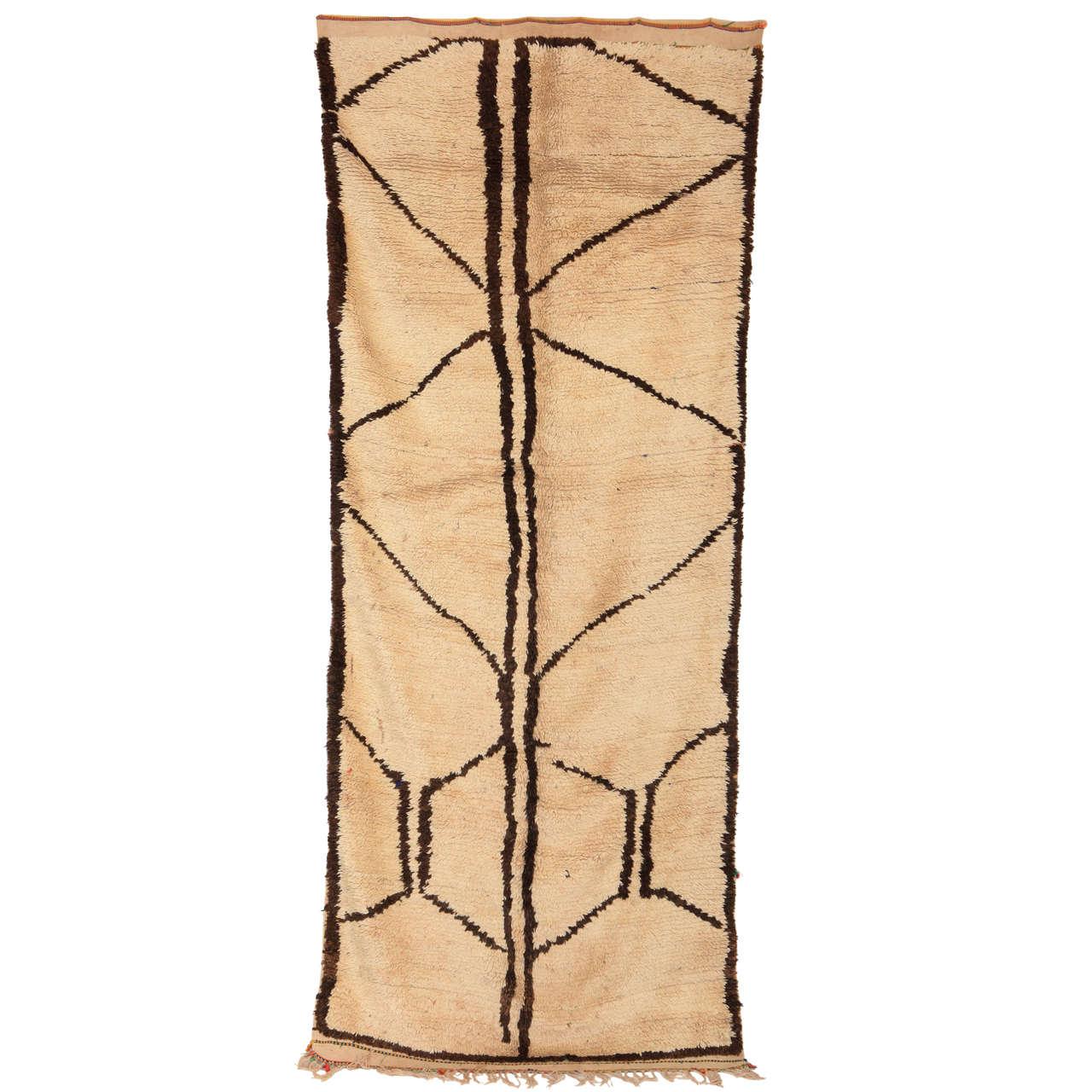 Mid-Century Modern Moroccan Abstract Azilal Wool Rug