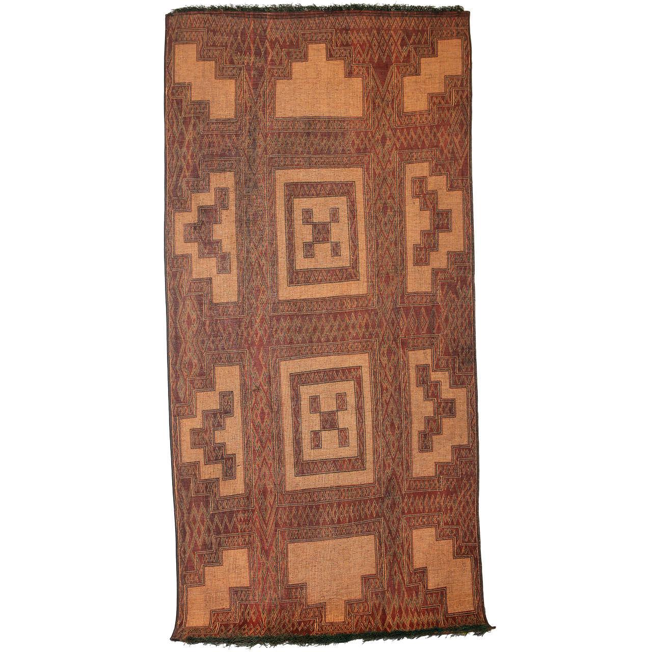 Vintage Saharan Tuareg Reed and Leather Rug, 1930's