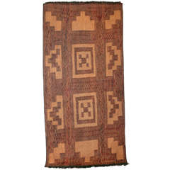 Vintage Saharan Tuareg Reed and Leather Rug, 1930's
