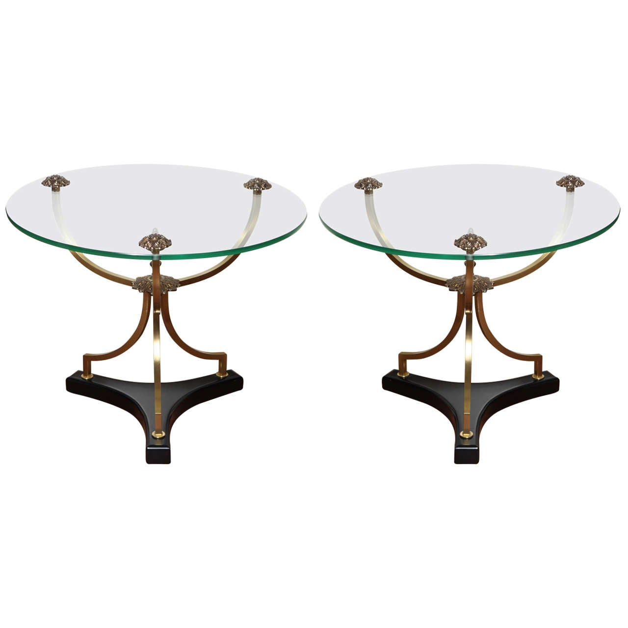 Pair of French Art Deco Round Side Tables, circa 1910 For Sale