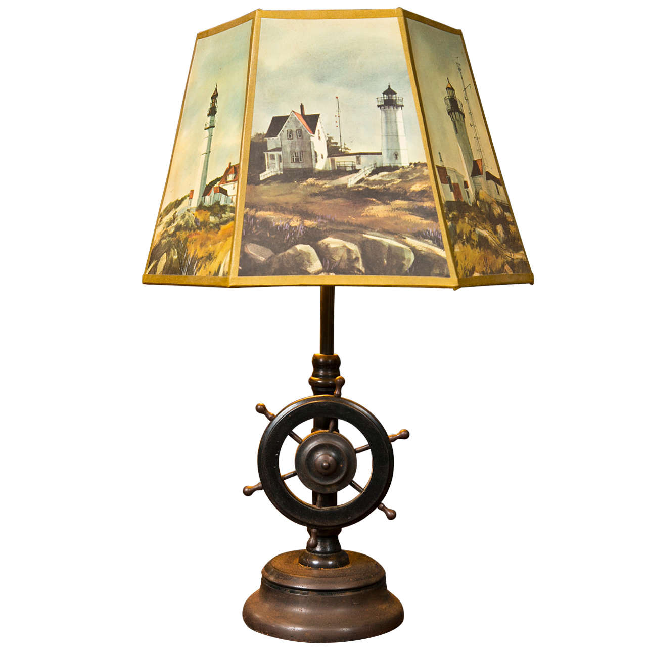 ships wheel table lamp with parchment shade at 1stdibs
